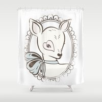 bambi Shower Curtains featuring BAMBI by TOO MANY GRAPHIX
