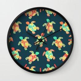 Cute Flower Child Hippy Turtles Wall Clock