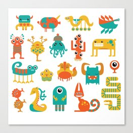 Colorful monster pattern Canvas Print