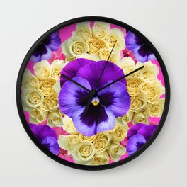 PURPLE PANSY FLOWERS & IVORY ROSES  PINK ART Wall Clock