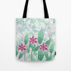Hand painted pink green watercolor tropical floral Tote Bag
