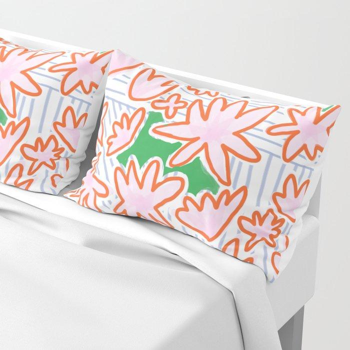Flowers, lines & green Pillow Sham