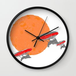 Around the Moon Orange Textured Version 2 Wall Clock