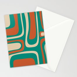 Palm Springs Midcentury Modern Abstract Pattern in Mid Mod Orange, Beige, and Turquoise Stationery Cards