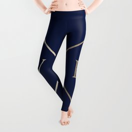 Gold on Navy Blue Compass Leggings