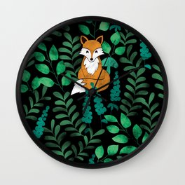Red Foxes (Black) Wall Clock