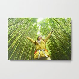 Eco-friendly travel hiker woman hiking in Bamboo forest - sustainable living happy Metal Print