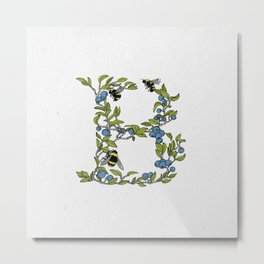 B is for Bees & Blueberries (colour) Metal Print