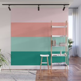 Soft Pink  Peach Amber Yucca and Arbor Green Horizontal Stripes Wall Mural