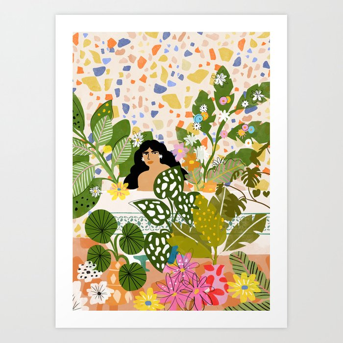 Bathing with Plants Art Print