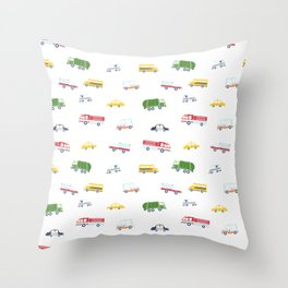 Cars and Trucks Collection Throw Pillow