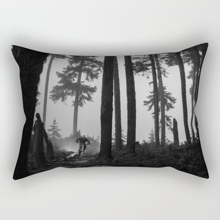 Mountain Biker in the Misty Bike Park Rectangular Pillow
