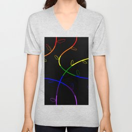 Jagged leaves, rainbow pride flag Unisex V-Neck