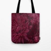 burgundy Tote Bags featuring Burgundy Chrysanthemums by Judy Palkimas