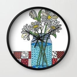 Daisies in a Mason Jar Wall Clock