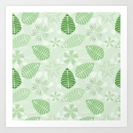 Tropical Green Leaf Floral Pattern Art Print