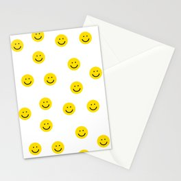 Smiley faces white yellow happy simple smiley pattern smile face kids nursery boys girls decor Stationery Cards