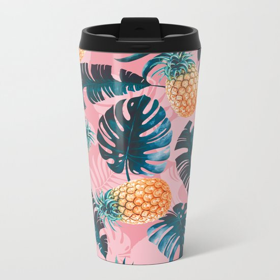 Pineapple and Leaf Pattern Metal Travel Mug