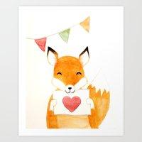 Happy loving fox Art Print