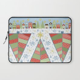 Holiday Christmas Village with Patchwork Christmas Trees Snow and Stars Laptop Sleeve