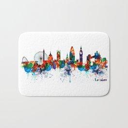 London Watercolor Skyline Silhouette Bath Mat