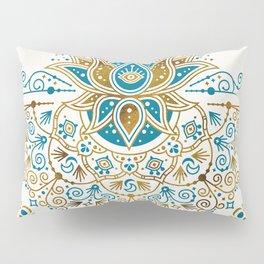 Sacred Lotus Mandala – Teal & Bronze Palette Pillow Sham