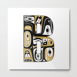 Northwest Pacific Coast American Native Totem Letter B Metal Print