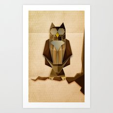 Owl riffic paper cutout vector jazz Art Print