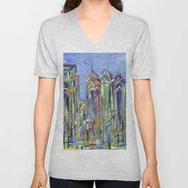 Philadelphia Skyline Painting Unisex V-Neck