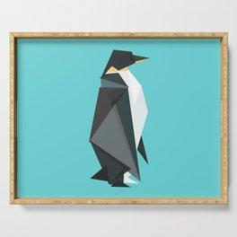 Fractal geometric emperor penguin Serving Tray