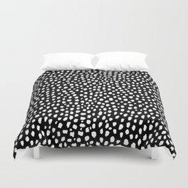 Handmade polka dot brush strokes (black and white reverse dalmatian) Duvet Cover