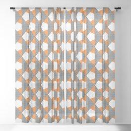 Gray Orange Geometrical Pattern Sheer Curtain