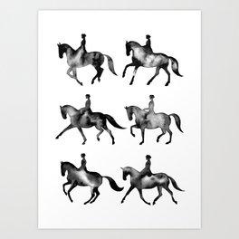 Dressage Horse Silhouettes Art Print