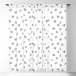 The Missing Letter Alphabet W&B Blackout Curtain