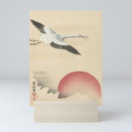Crane and Red Moon Japanese Print Mini Art Print