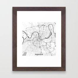 Nashville Map Gray Framed Art Print