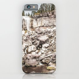 Rock Land Waterfall // Dull High Contrast Gray Tone Wilderness Photograph iPhone Case