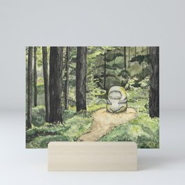 Statue in a Forest Watercolor Painting Mini Art Print