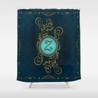 dragonball z Shower Curtains featuring Monogram Z by Britta Glodde