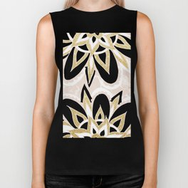 Modern black gold pink abstract floral pattern Biker Tank