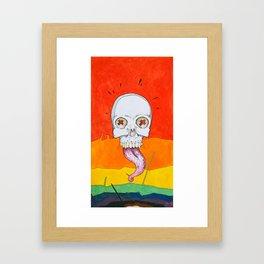 Color skull, cartoon bright colored skull Framed Art Print