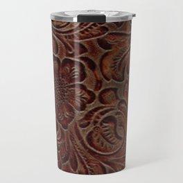 Burnished Rich Brown Tooled Leather Travel Mug