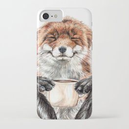 """ Morning fox "" Red fox with her morning coffee iPhone Case"