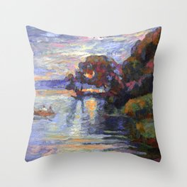 Evening on the lake Throw Pillow