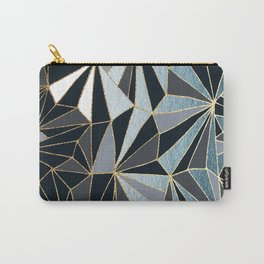 Stylish Art Deco Geometric Pattern - Black, blue, Gold #abstract #pattern Carry-All Pouch