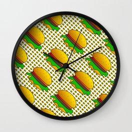 Burgers Lovers Diagonal Pattern Wall Clock