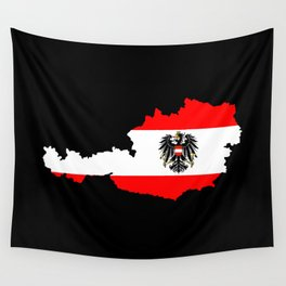 Austrian Flag and Map Wall Tapestry