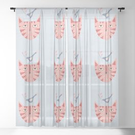 Cat, bird and flower Sheer Curtain