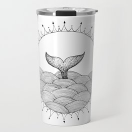 Whale in Waves Travel Mug