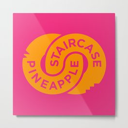 Pineapple Staircase  |  Official Logo in Pink/Orange Metal Print